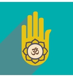Modern flat icon with long shadow hand sign of om vector