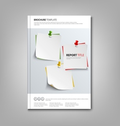 Brochures book or flyer with note papers and pins vector
