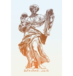 Sketch ink drawing marble statue of angel from the vector