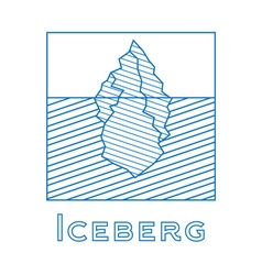 Iceberg in linear style outline iceberg vector