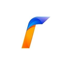 I letter blue and orange logo design fast speed vector