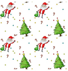 A seamless design showing Santa and the christmas vector image vector image