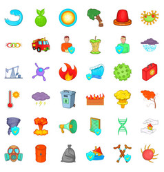 Backwater icons set cartoon style vector