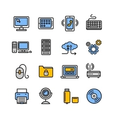 Computer Technology Outline Icon Set vector image