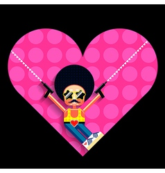 Disco cupid and heart vector image vector image