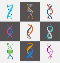 dna strand icon flat set vector image