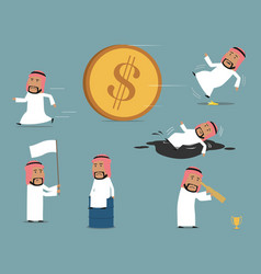 failed bankrupt arab businessman character set vector image vector image