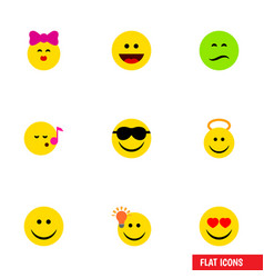 Flat icon face set of love laugh caress and vector