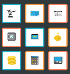 Flat icons payment money box verdict and other vector