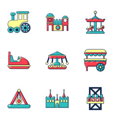 Funfair attractions icons set flat style vector