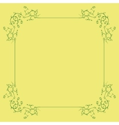Green floral frame on a yellow background vector
