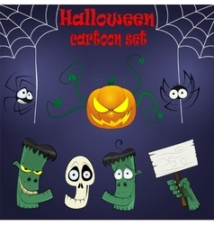 Halloween cartoon design elements vector image
