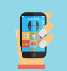 hand holding a phone with weight lifting vector image vector image