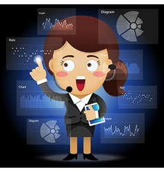 Happy business woman working with data processing vector image vector image