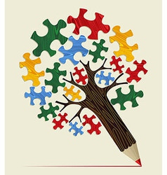Jigsaw strategic concept pencil tree vector image