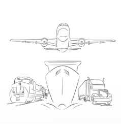 Logistics sign with plane truck container ship vector