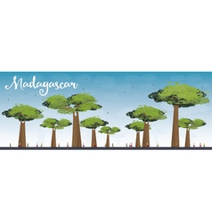 Madagascar skyline silhouette with baobabs vector image vector image
