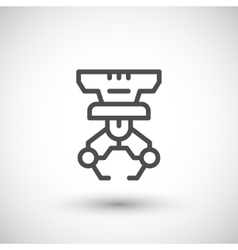 Robotic claw line icon vector