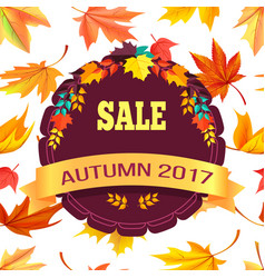 Sale autumn 2017 special offer promo poster leaves vector