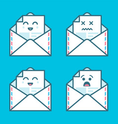 Set of smile emoji emoticon face in email with a vector