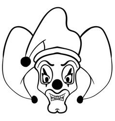 sketch draw jester face cartoon vector image vector image