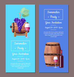 Sommelier party invitation set vector