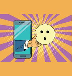Surprise emoji emoticons in smartphone vector