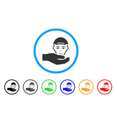 User support hand rounded icon vector