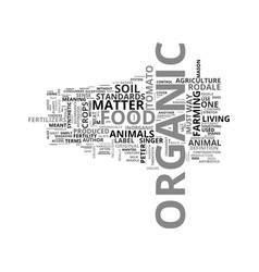 What is organic food text word cloud concept vector