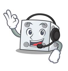 With headphone dice character cartoon style vector