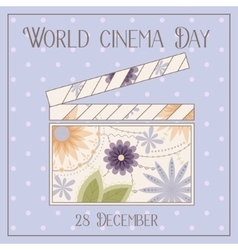 World cinema day background with clapperboard vector