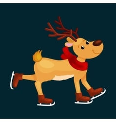 Christmas reindeer with horns and scarf skates on vector