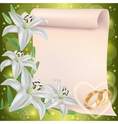 Wedding invitation or greeting card with lily vector