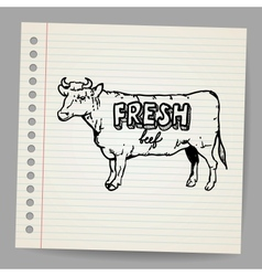 Scribble cow vector image