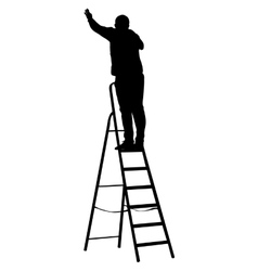 Silhouette worker climbing the ladder vector