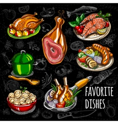 Set color sketch meat fish side dishes vector