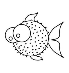 Silhouette blowfish aquatic animal icon vector