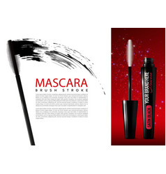 realistic mascara cosmetic advertising template vector image