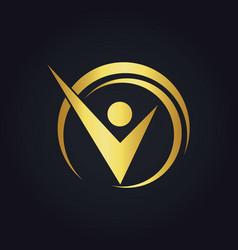 Success business man happy gold logo vector