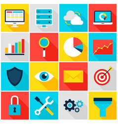 Business analytics colorful icons vector