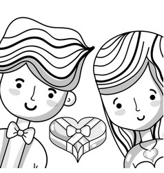 couple lover with heart chocolate vector image