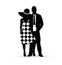 Couple silhouette together in love romance vector