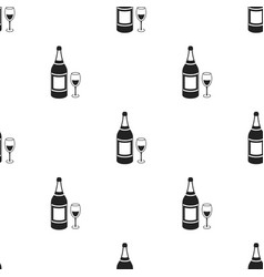 Champagne icon in black style isolated on white vector