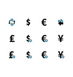Exchange rate duotone icons on background vector
