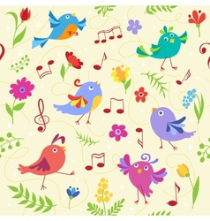Cute spring musical birds seamless pattern vector