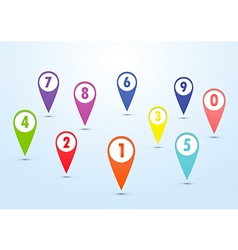 Set of colorful mapping pins vector image