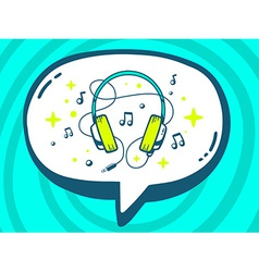 Speech bubble with icon of headphones on vector