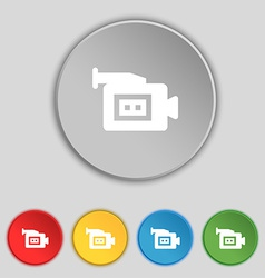 Video camera icon sign symbol on five flat buttons vector