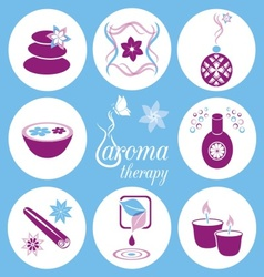 Aromatherapy icons vector