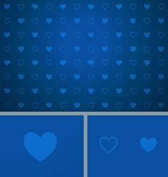 Clean abstract poker background blue hearts vector